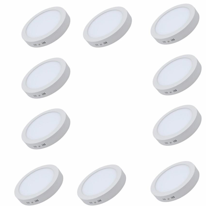 Combo 10 Đèn LED downlight ốp trần nổi tròn ánh sáng trắng công suất 18W bóng tròn (cho ban công...)