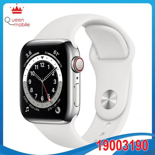 Đồng hồ thông minh Apple Watch Series 6 GPS + Cellular 40mm M06M3 Silver Aluminium Case with White Sport Band