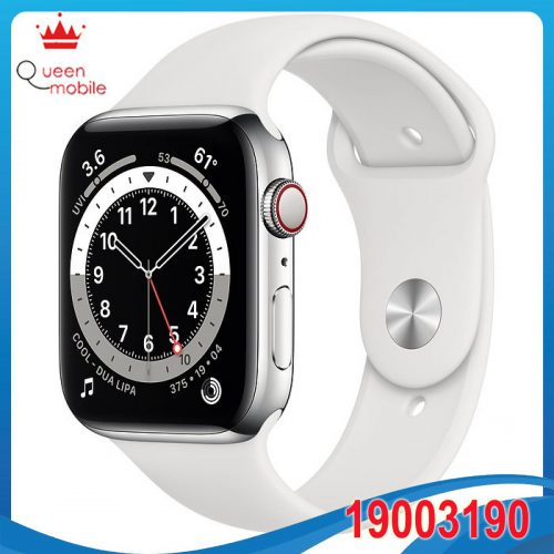 Đồng hồ thông minh Apple Watch Series 6 GPS + Cellular 44mm M09D3 Silver Stainless Steel Case with White Sport Band